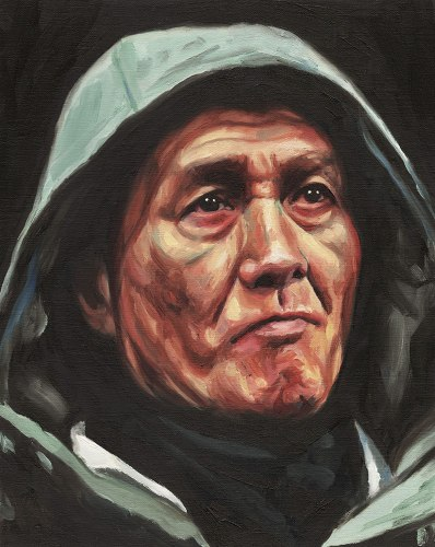 Man in hood Oil on Canvas By Robert O'Brien